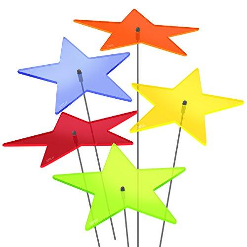 """SUNPLAY Sonnenfänger """"Sterne Lisa"""" im FARBMIX, 5 Stück zu je 20 cm Durchmesser im Set + 70 cm Schwingstäbe"""