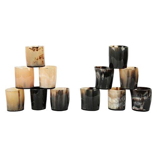 Juego de vasos de chupito de cuerno real, estilo vintage, de Handicrafts Home