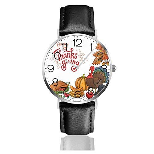 Acción de Gracias Pavo Calabaza Reloj de Cuarzo Reloj de Pulsera de Cuero de Moda con Correa de Cuero Negro para Mujeres Hombres Niños Niñas