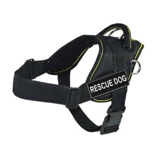 Dean & Tyler DT Fun Works Hundegeschirr, Rettungshund, Schwarz mit gelbem Rand, Größe M, passend für Körpergröße: 71,1 cm bis 86,4 cm