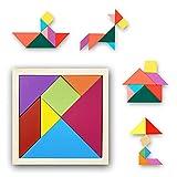 Puzzle de Madera, Juguetes Montessori. Rompecabezas de Madera Bebe. Aprendizaje Temprano. Regalo. Tangram de Madera Figuras Geométricas y Colores. Juegos educativos y Lógicos.