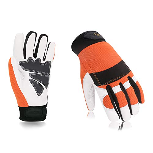 Vgo... Chainsaw Protection Gloves (Orange Color, Size 9/L and 10/XL)