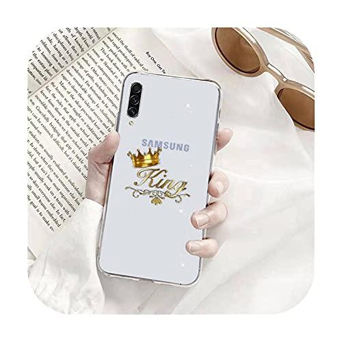 Lindo Rey Reina Bling Teléfono Carcasas Transparente para Samsung A71 S9 10 20 HUAWEI p30 40 honor 10i 8x xiaomi note 8 Pro 10t 11-a2-samsung s10