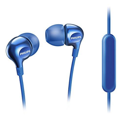 Philips Vibes SHE3705BL - Auricualres in-Ear (micrófono para Cambiar Entre la música y Las Llamadas telefónicas, 3 Auriculares de Goma Intercambiables), Color Azul