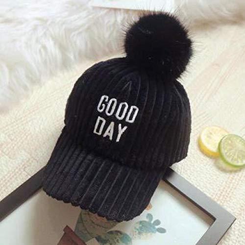 mlpnko Kinder Baseball Cap große Haare Ball Cap warme Plüsch Männer und Frauen Hut Cord schwarz 49-53cm einstellbar