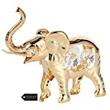 Matashi 24K Gold Plated Crystal Studded Elephant Ornament Home Decorative Animal Figurine Tabletop Showpiece for Living Room Bedroom Gift for Christmas Birthday New Year Anniversary Holiday