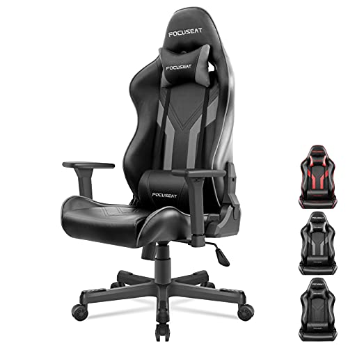 Focuseat Gaming Chair Ergonomic Office Chair with Headrest and Lumbar Support, 3D Soft Arm Rest, PU Leather, Adjustable Height Swivel Computer Chairs with Seat Lock, Large PC Chair for Adult (Grey)