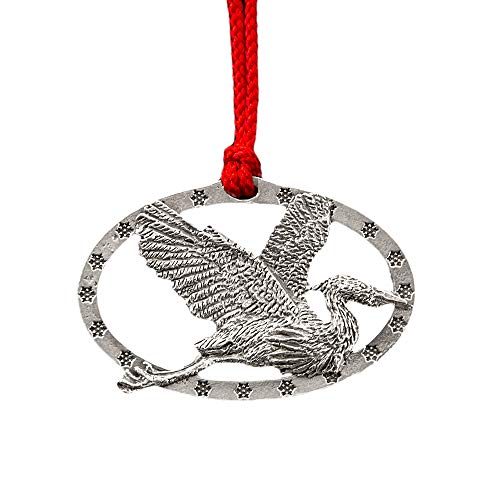 Blue Heron Flying Christmas Winter Tree Ornament, Lead Free English Pewter, Hand Made in America