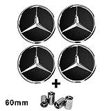 Libra - 4 Tapones para llantas de 60 mm con el logo Mercedes Benz - Color negro - Clase A, B, C, E, CLK, GL, M, ML, SLK - Para llantas de aleación