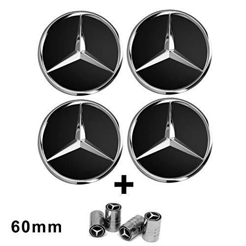 4 x velgdoppen zwart Mercedes logo 60 mm - klasse A B C E CLK GL M ML SLK - voor lichtmetalen velgen