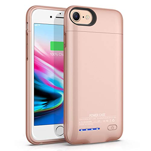 Battery Case for iPhone 6/6S/7/8/SE 2020 Magnetic Slim Charger Case 3000mAh Rechargeable Portable Charging Case Compatible Phone Stand External Battery Pack Protective Case (4.7inch) (Rose Gold)