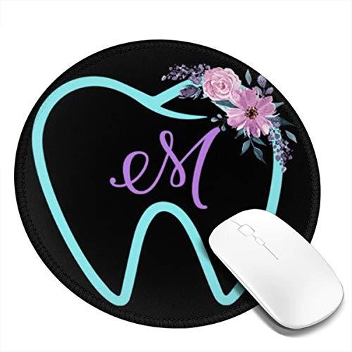 Runde Gaming Mauspad Zahn Blumenbuchstabe M für Zahnärzte, Rutschfest Gummi Mauspad Rund Mauspad für Computer Laptop Mousepad