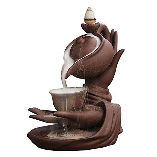 OMKMNOE Incienso, Meditación Zen Bergamot Lotus Tea Ceremonia Reflujo Incienso Incenso Quemador, Decoración Creativa Cascada Quemador Fumar,Marrón