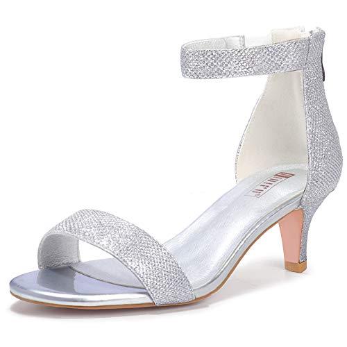 IDIFU Women's Low Kitten Heels Sandals Ankle Strap Open Toe Wedding Pump Shoes with Zipper(9, Silver Glitter)