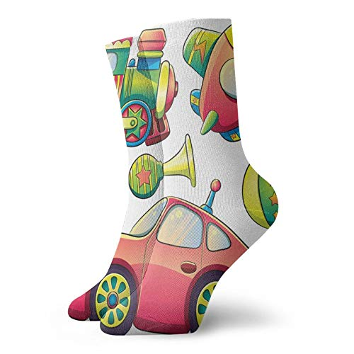 Calcetines suaves de media pantorrilla, divertidos juguetes de transporte con bolas de cuerno de coche, para coche, para neumáticos de coche, para hombre y mujer, ideal para correr