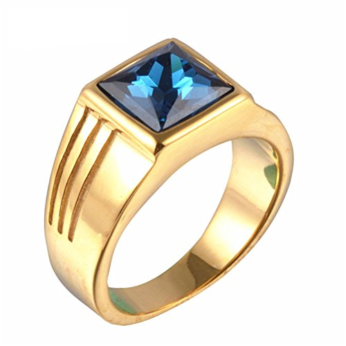 PAMTIER Men's Stainless Steel Square Blue Gemstone Ring (Gold) Size 8