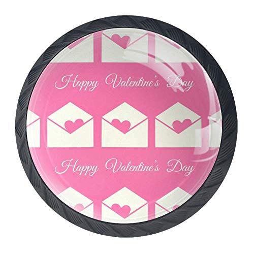 Pomelli per cassetti, buste di San Valentino, confezione da 4 pomelli per armadietti da cucina, maniglie rotonde, cassetti, credenza, libreria, mobili da cucina