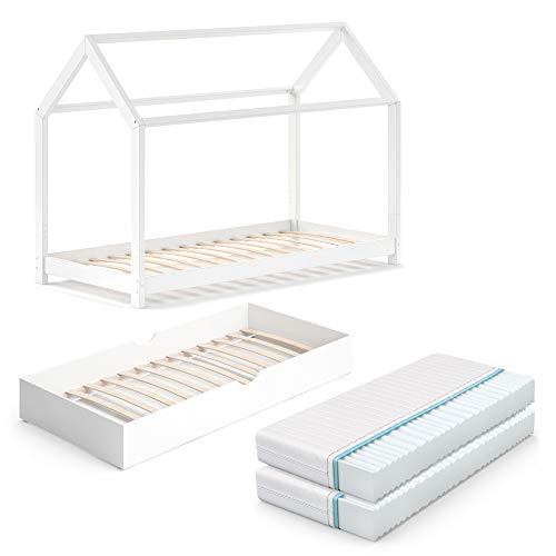 VitaliSpa Kinderbett Wiki 90x200 cm Bett Weiß Schlafplatz Unterbett Hausbett Kinderhaus inklusive 2 Matratzen
