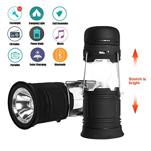 U2C Solar Powered LED Camping Lantern USB Rechargeable Flashlights 2 Pack With Bluetooth Speaker, Power Bank and FM Radio function 5-in-1,Collapsible Water Resistant Lights for Outdoor Hiking Camping