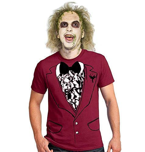 Funny easy Beetlejuice style Halloween Costume Shirt wedding men's costume t-shirt tuxedo shirt dance party Movie beetle juice suit outfit tshirt