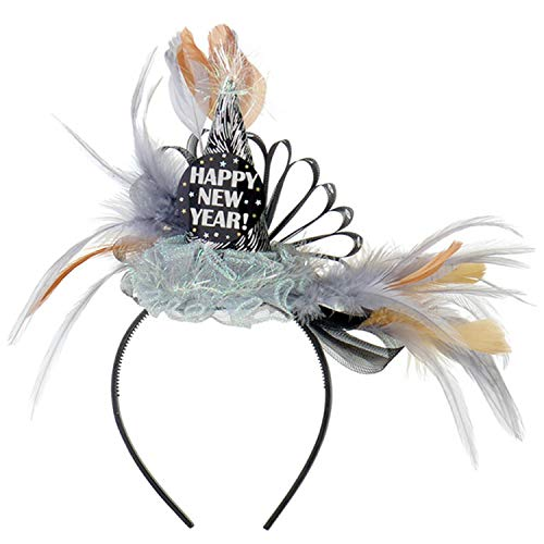 amscan 395107 Deluxe New Year Cone & Feathers Fabric Headband