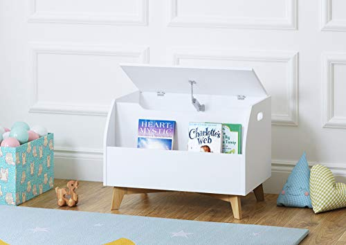UTEX Children Toy Box with Front Book Storage Area, Kids Toy Storage Bench, White