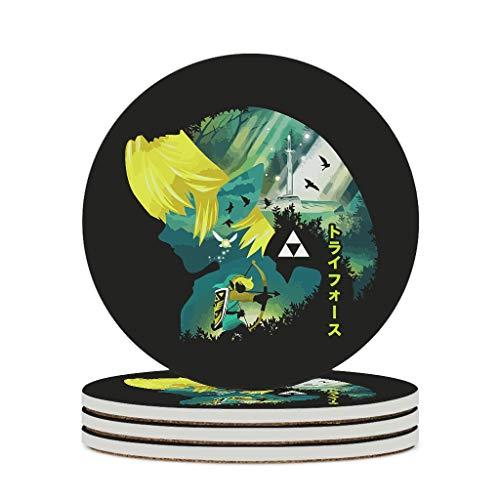O5KFD&8 Posavasos de cerámica Zel-da duradero, base de corcho, posavasos modernos, para cumpleaños al aire libre, color blanco, 6 unidades