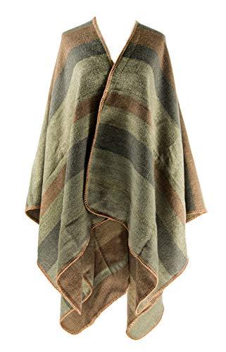 MANUMAR Ponchos für Damen | Cape in braun mit Streifen | Überwurf Cape | Umhang | Wendeponcho Perfektes Herbst/Frühling/Winter Accessoire |