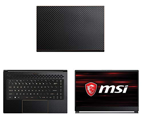 Decalrus - Protective Decal for MSI GS65 Stealth (15.6' Screen) Laptop Black Carbon Fiber Skin case Cover wrap CFmsiGS65_15Black
