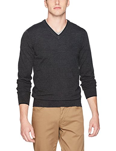 Fred Perry Herren Merino Tipped V-Neck Sweater Pullover, Charcoal Marl, X-Groß
