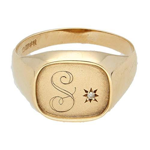 Heren Ring Band | 9Carat Geel Goud Diamant Initiaal 'S' Gegraveerde Signet Ring (Maat U)12x11mm Hoofd | Een van een soort sieraden