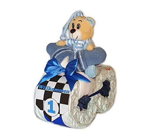 Tarta de pañales – Pañal Moto Rallye Azul # 1 – Regalo para nacimiento