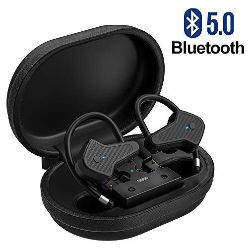 Bluetooth Kopfhörer, TWS Bluetooth 5.0 True Wireless Earbuds, schweißfest Sport Kabellose Ohrhörer mit Ladekästchen und Mikrofon, In-Ear Stereo Headsets für Handy/Sport/Laufen/Android/IOS