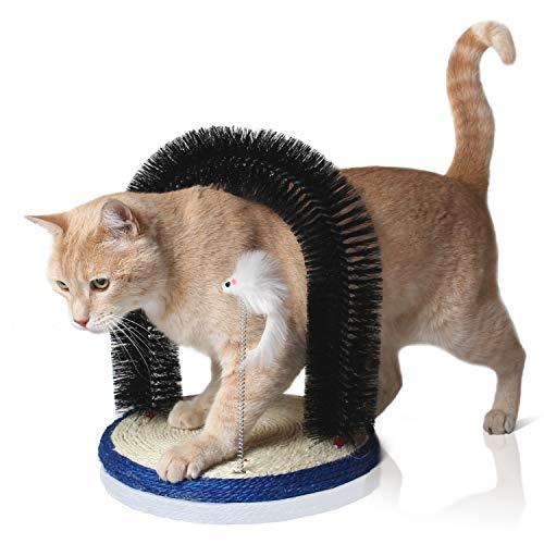 Bella & Balu Katzenbogen inkl.Katzenspielzeug – Massagebogen für Katzen mit Kratzbürste und integriertem Kratzbrett aus Sisal zur Massage, Fellpflege und zum Spielen