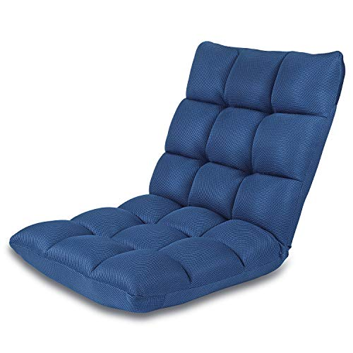 Floor Chair Adjustable NNEWVANTE 5 Angles Padded Floor Seating Back Support Floor Seat Recliner Fold Flat for Meditation, Reading, Watching, Video-Gaming, Adult Kid, Nave Blue