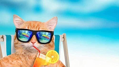 Adultos Puzzle 1000 Piezas - Gato con Gafas de Sol - Madera Niño Rompecabezas DIY Moderno Juego Rompecabezas Intelectual aliviar estrés Casual Coleccionables Decoración para El Hogar 50 * 75CM