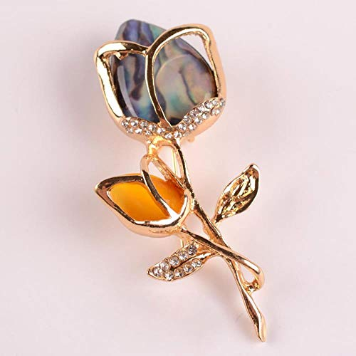 Broche clásico de rosa con diamantes de imitación para niña, color azul, flor en L, color dorado, jirafa, pecho, broche de metal para mujer, azul real, Gold-color