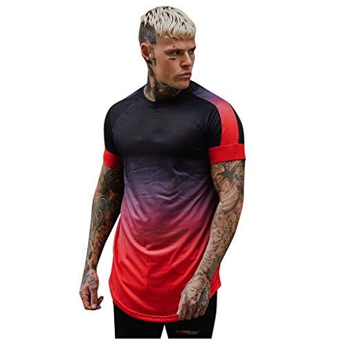 Herren T-Shirt gestreifte Farbverlauf lässig O-Ausschnitt Kurzarm Sommer Top Bluse(rot,X-Large)