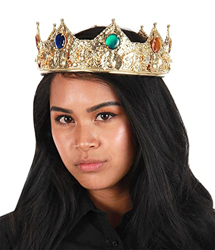 Royal King or Queen Full Round Crown Gold with Jewels