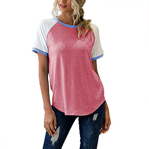 Camiseta Holgada Informal De Primavera Y Verano para Mujer, Cuello Redondo, Costura De Tres Colores, Camiseta De Manga Corta para Mujer