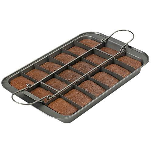 Kitchencraft Chicago metálico profesional antiadherente Brownie lata con separadores y sueltos base, 23x 33cm (9'x 13'), color gris