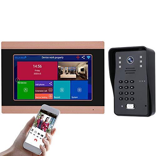 Sistema De Intercomunicación Inalámbrica De Vídeo Portero - 7' LCD Timbre Kit Con Impermeable Del IP 65 Y Cámara De Visión Nocturna, La Contraseña/Desbloqueo Con Reconocimiento De Caras