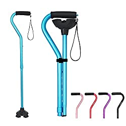 BeneCane Walking Cane Adjustable Cane Small Quad Cane with Offset Soft Cushioned Handle Lightweight Comfortable Extra Stability Base for Men Women and Seniors (Blue)