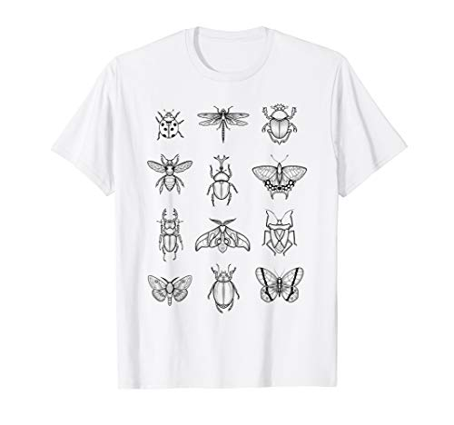 Bug Diagram Vintage Entomology Insects Butterflies Moths T-Shirt