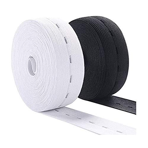 Lot de 2 rouleaux de 6 mètres de trou boutonnière - Bobine élastique pour couture, tricot, ceinture (6 m x 20 mm)