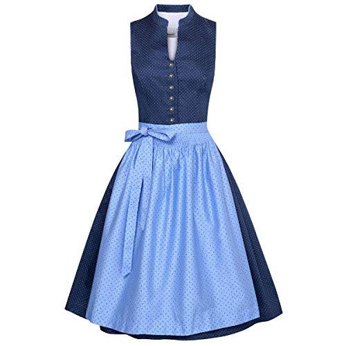 MarJo Trachten Damen Trachten-Mode Midi Dirndl Helene in Blau traditionell, Größe:38, Farbe:Blau