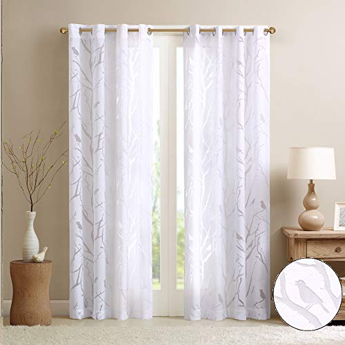 Madison Park Semi Sheer Curtain Modern Contemporary Botanical Print Out Design Grommet Top, Window Drapes for Living Room, Bedroom and Dorm, 50x63, Bird White