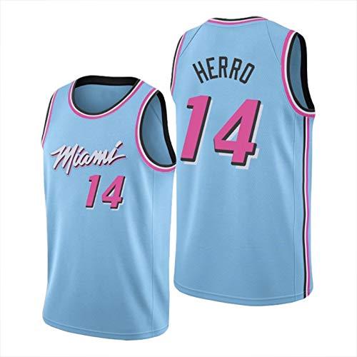 ZLWJ Jersey para Hombre, Miami Heat # 14 Tyler Herro Baloncesto Uniforme Malla Baloncesto Swing Jersey Uso Diario Y Torneo De Baloncesto Blue B-L
