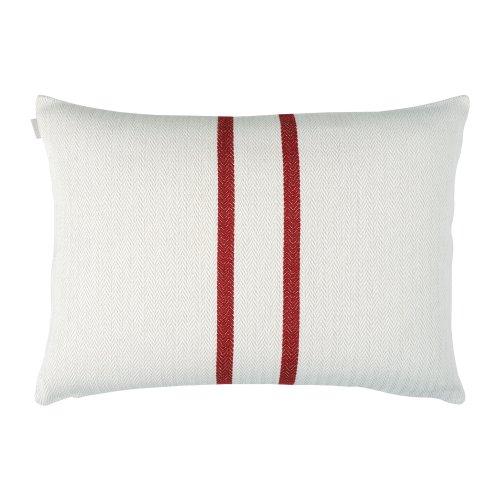 Linum Kissenhülle Lassie D90 weiß mit roten Streifen 50cm x 70cm, 100% Baumwolle, Kissenbezug, Kissen, Wohntextilien