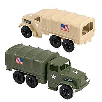 TimMee Combat Convoy Trucks - Plastic Army Men M34 Deuce & a Half Cargo Vehicles